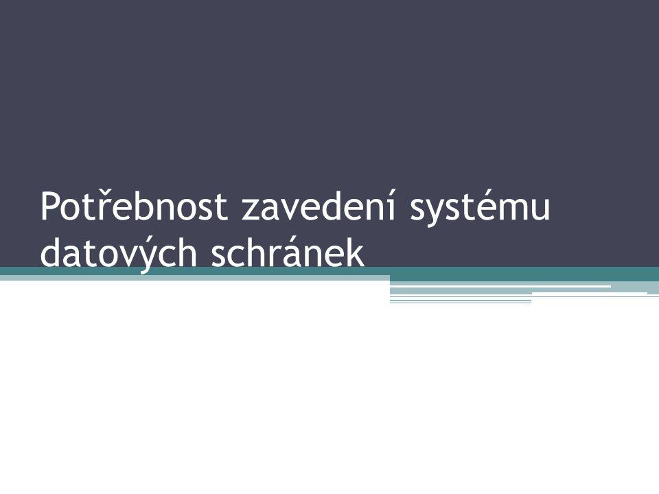 Potřebnost zavedení systému datových schránek