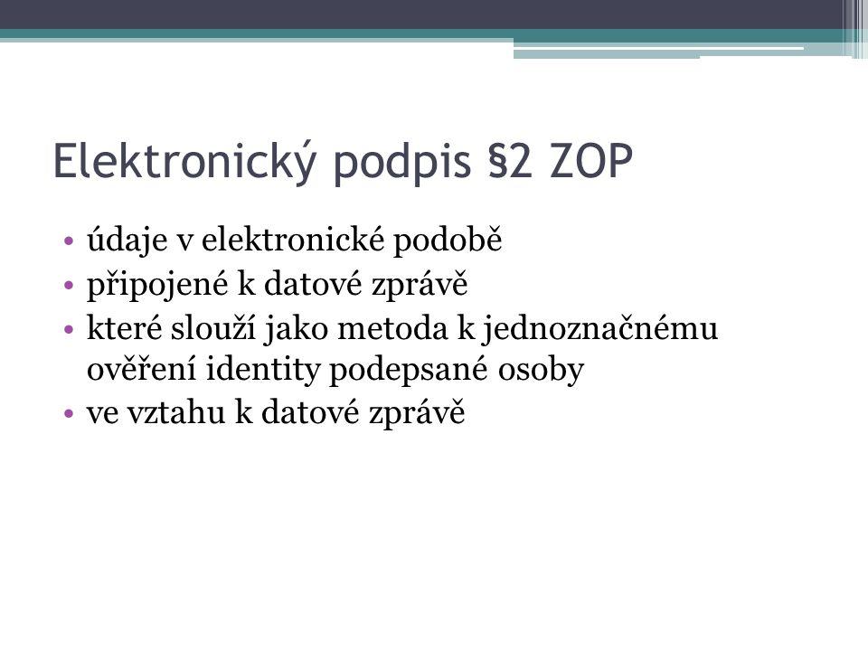Elektronický podpis §2 ZOP údaje v elektronické podobě připojené k datové zprávě které slouží jako metoda k jednoznačnému ověření identity podepsané osoby ve vztahu k datové zprávě