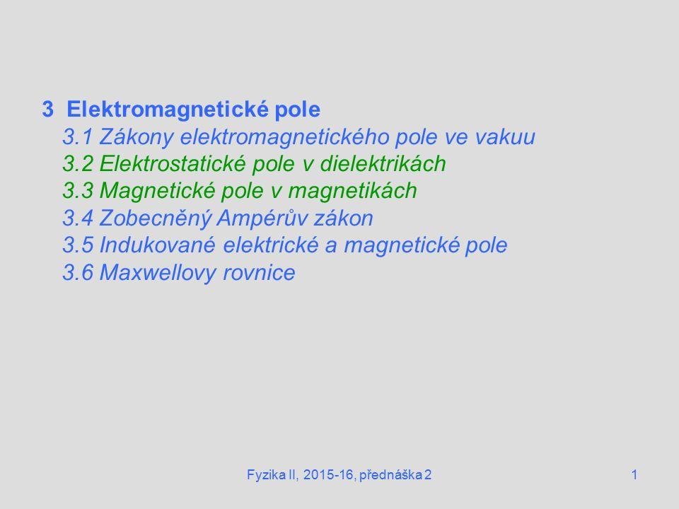 1 3 Elektromagnetické pole 3.1 Zákony elektromagnetického pole ve vakuu 3.2 Elektrostatické pole v dielektrikách 3.3 Magnetické pole v magnetikách 3.4 Zobecněný Ampérův zákon 3.5 Indukované elektrické a magnetické pole 3.6 Maxwellovy rovnice Fyzika II, 2015-16, přednáška 2