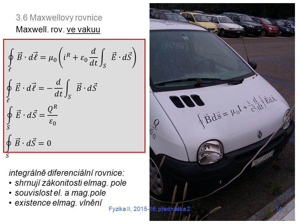 14 3.6 Maxwellovy rovnice Maxwell. rov.