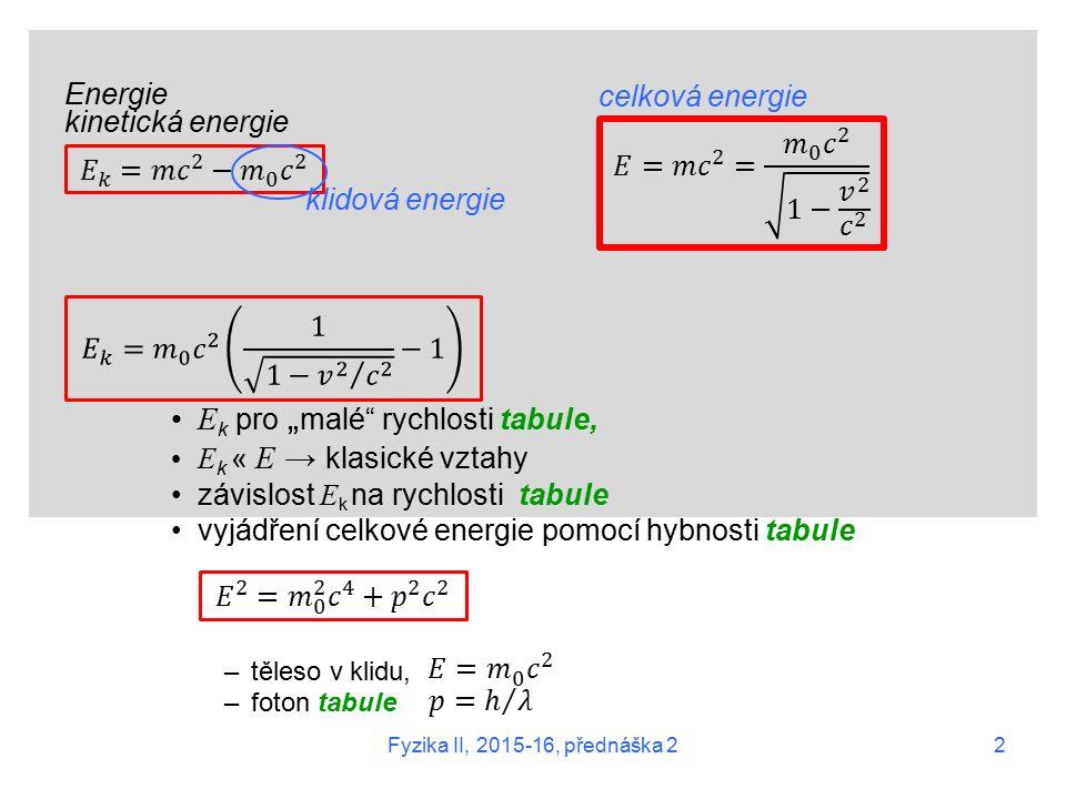 """Energie kinetická energie E k pro """" malé rychlosti tabule, E k « E → klasické vztahy závislost E k na rychlosti tabule vyjádření celkové energie pomocí hybnosti tabule –těleso v klidu, –foton tabule klidová energie celková energie 2 Fyzika II, 2015-16, přednáška 2"""