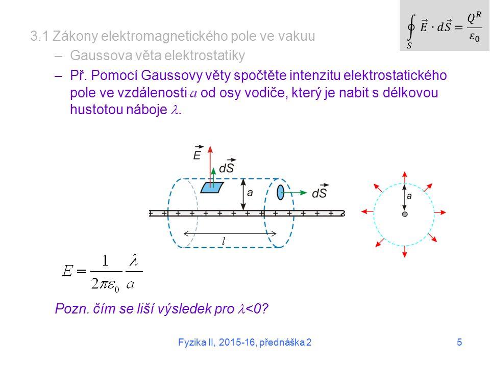 5 3.1 Zákony elektromagnetického pole ve vakuu –Gaussova věta elektrostatiky –Př.