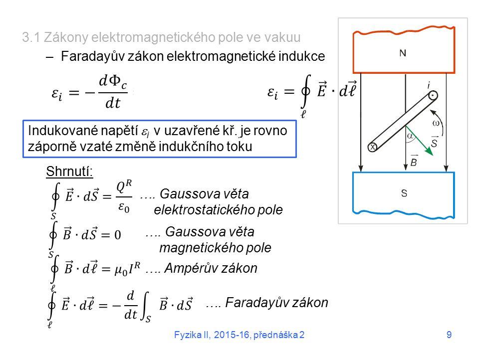 3.1 Zákony elektromagnetického pole ve vakuu –Faradayův zákon elektromagnetické indukce Shrnutí: Indukované napětí  i v uzavřené kř..