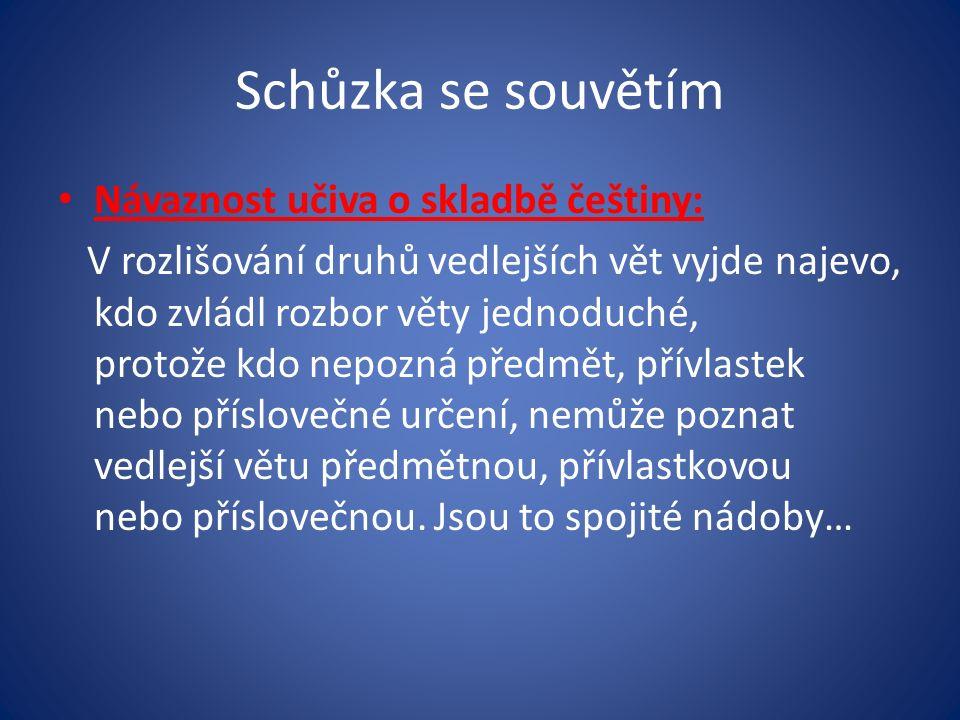 Schůzka se souvětím Návaznost učiva o skladbě češtiny: V rozlišování druhů vedlejších vět vyjde najevo, kdo zvládl rozbor věty jednoduché, protože kdo nepozná předmět, přívlastek nebo příslovečné určení, nemůže poznat vedlejší větu předmětnou, přívlastkovou nebo příslovečnou.