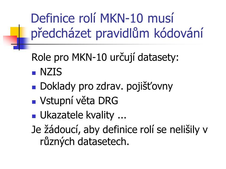Definice rolí MKN-10 musí předcházet pravidlům kódování Role pro MKN-10 určují datasety: NZIS Doklady pro zdrav.