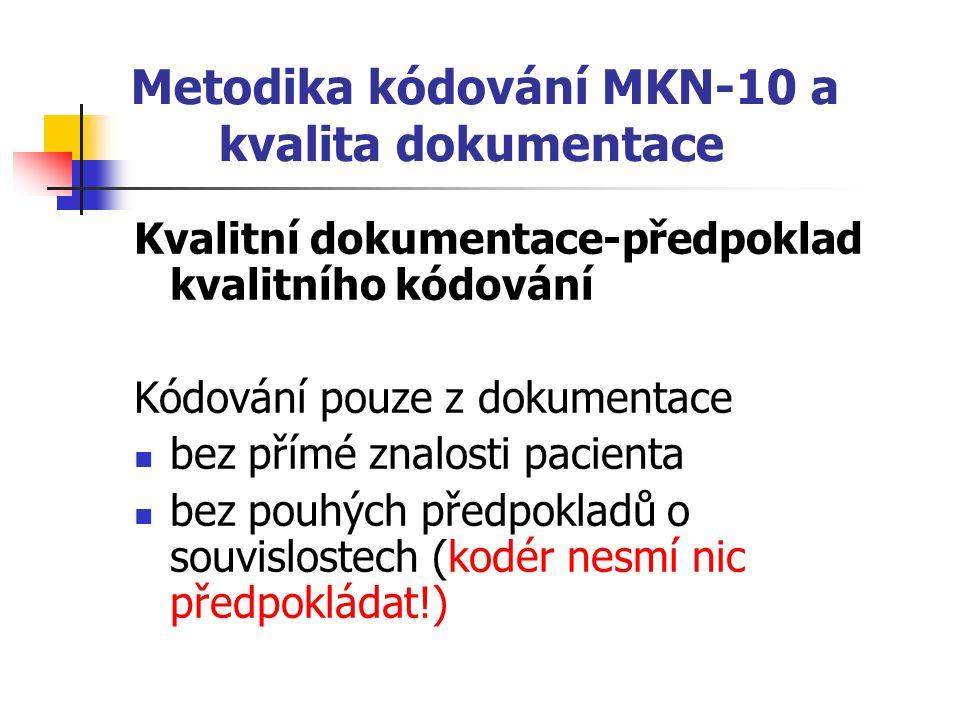 Metodika kódování MKN-10 a kvalita dokumentace Kvalitní dokumentace-předpoklad kvalitního kódování Kódování pouze z dokumentace bez přímé znalosti pacienta bez pouhých předpokladů o souvislostech (kodér nesmí nic předpokládat!)