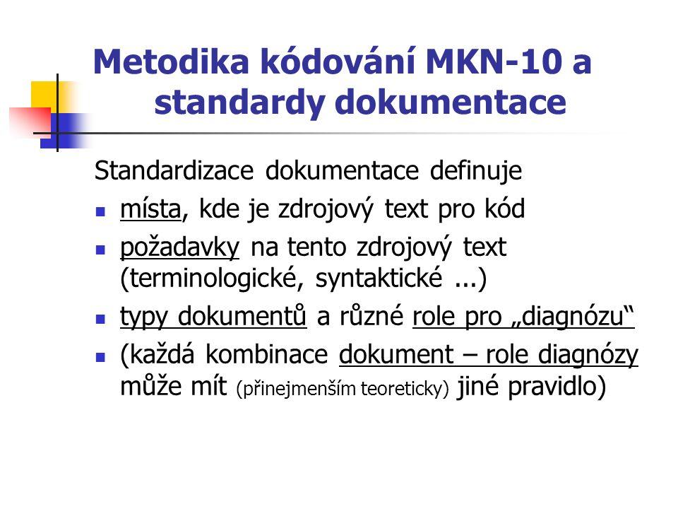 """Metodika kódování MKN-10 a standardy dokumentace Standardizace dokumentace definuje místa, kde je zdrojový text pro kód požadavky na tento zdrojový text (terminologické, syntaktické...) typy dokumentů a různé role pro """"diagnózu (každá kombinace dokument – role diagnózy může mít (přinejmenším teoreticky) jiné pravidlo)"""