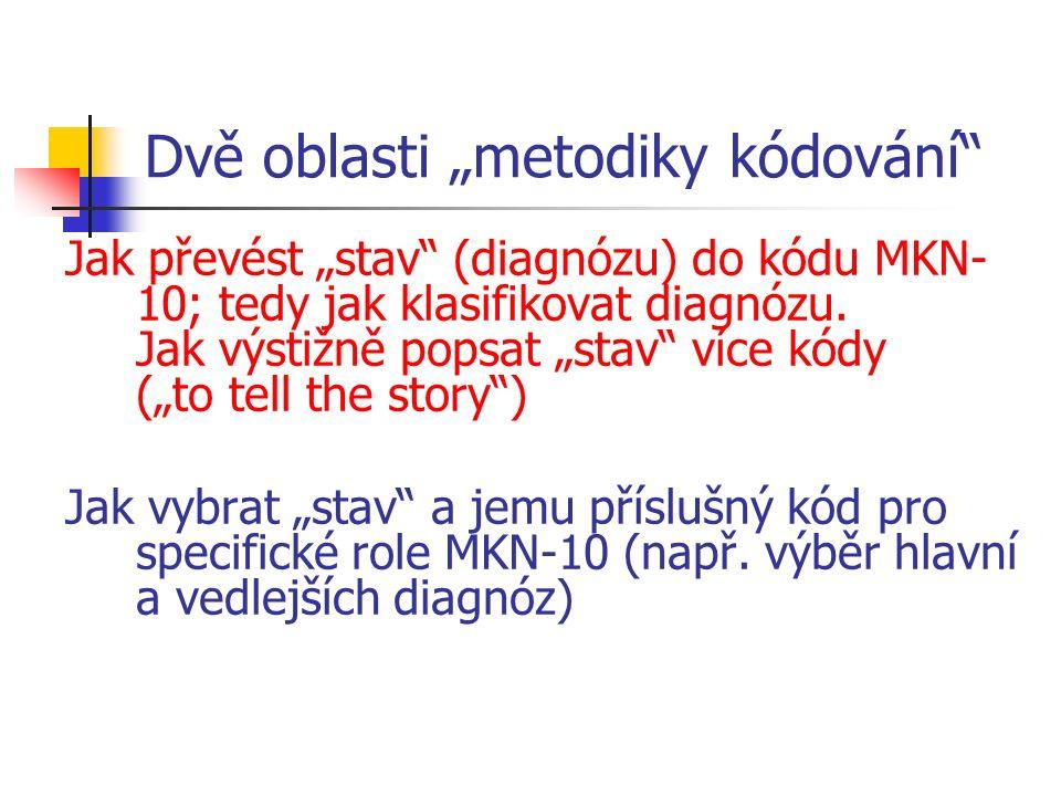 """Dvě oblasti """"metodiky kódování Jak převést """"stav (diagnózu) do kódu MKN- 10; tedy jak klasifikovat diagnózu."""