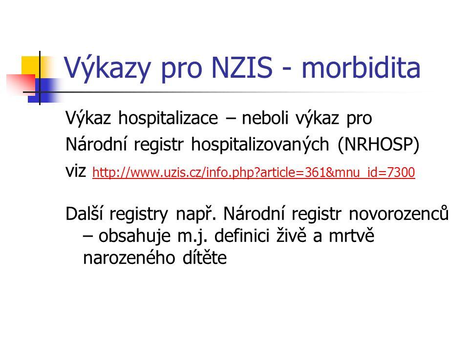 Výkazy pro NZIS - morbidita Výkaz hospitalizace – neboli výkaz pro Národní registr hospitalizovaných (NRHOSP) viz http://www.uzis.cz/info.php article=361&mnu_id=7300 http://www.uzis.cz/info.php article=361&mnu_id=7300 Další registry např.