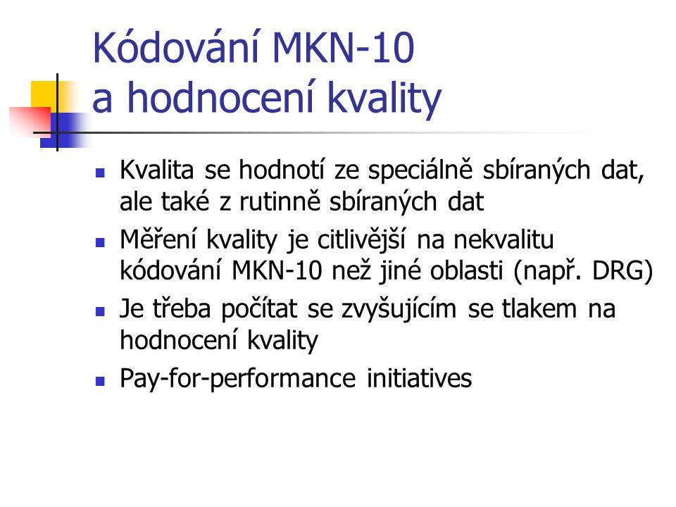Kódování MKN-10 a hodnocení kvality Kvalita se hodnotí ze speciálně sbíraných dat, ale také z rutinně sbíraných dat Měření kvality je citlivější na nekvalitu kódování MKN-10 než jiné oblasti (např.
