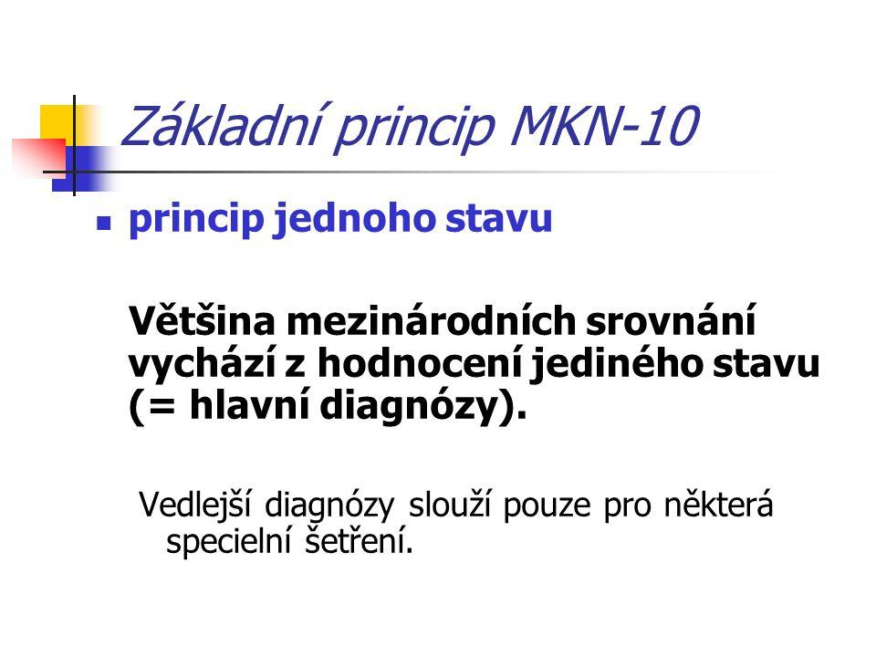Základní princip MKN-10 princip jednoho stavu Většina mezinárodních srovnání vychází z hodnocení jediného stavu (= hlavní diagnózy).