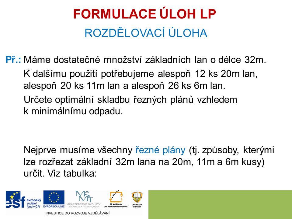 FORMULACE ÚLOH LP ROZDĚLOVACÍ ÚLOHA Př.:Máme dostatečné množství základních lan o délce 32m.
