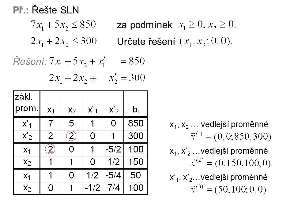 Př.: Řešte SLN za podmínek Určete řešení Řešení: x 1, x 2 … vedlejší proměnné x 1, x' 2 …vedlejší proměnné x' 1, x' 2 …vedlejší proměnné