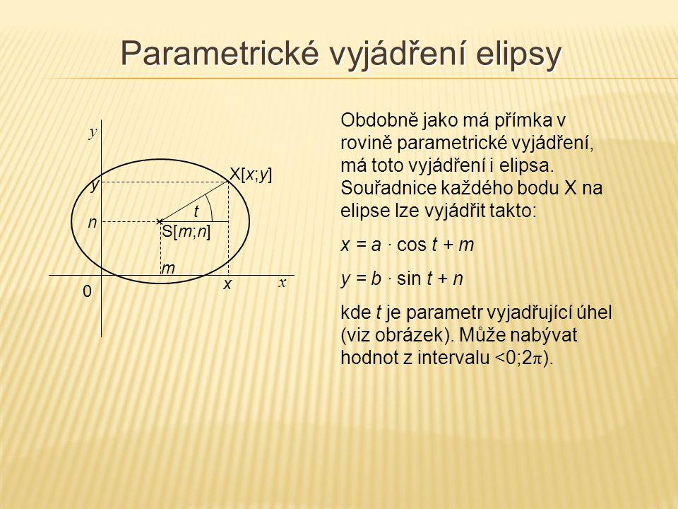 Obdobně jako má přímka v rovině parametrické vyjádření, má toto vyjádření i elipsa.