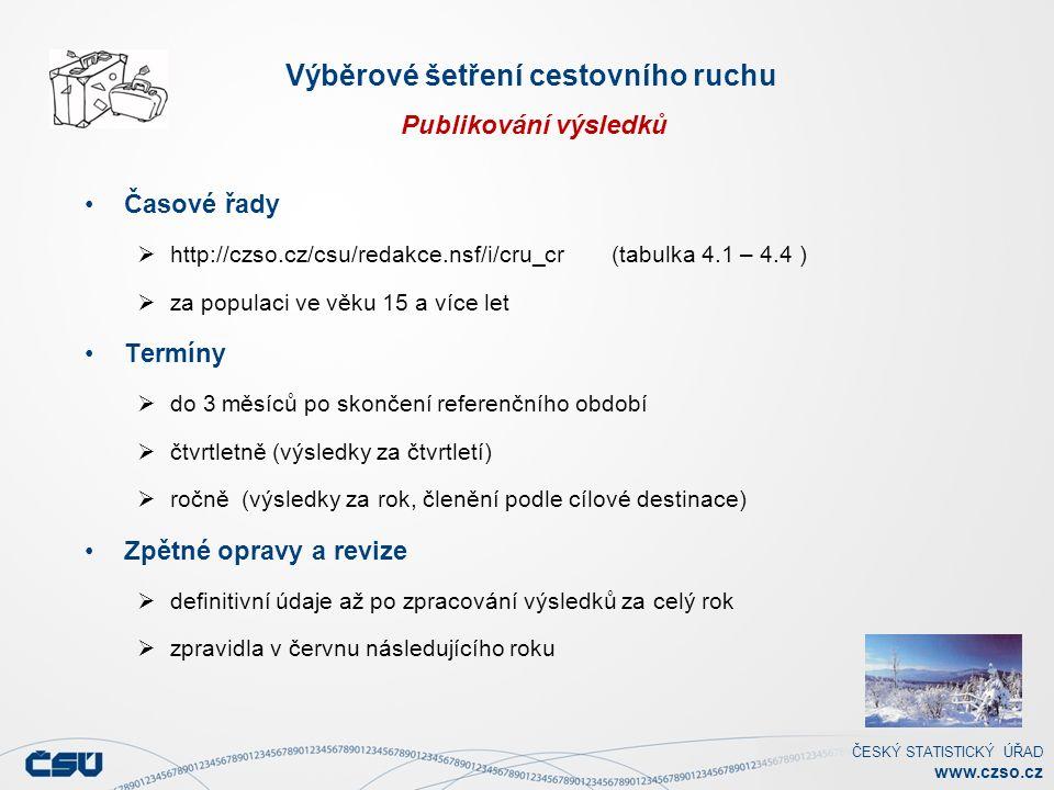 ČESKÝ STATISTICKÝ ÚŘAD www.czso.cz Výběrové šetření cestovního ruchu Publikování výsledků Časové řady  http://czso.cz/csu/redakce.nsf/i/cru_cr(tabulka 4.1 – 4.4 )  za populaci ve věku 15 a více let Termíny  do 3 měsíců po skončení referenčního období  čtvrtletně (výsledky za čtvrtletí)  ročně (výsledky za rok, členění podle cílové destinace) Zpětné opravy a revize  definitivní údaje až po zpracování výsledků za celý rok  zpravidla v červnu následujícího roku