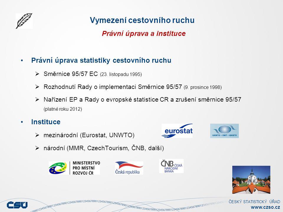 ČESKÝ STATISTICKÝ ÚŘAD www.czso.cz Vymezení cestovního ruchu Právní úprava a instituce Právní úprava statistiky cestovního ruchu  Směrnice 95/57 EC (23.
