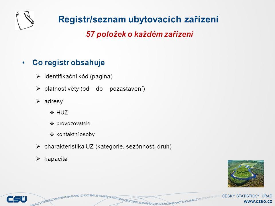 ČESKÝ STATISTICKÝ ÚŘAD www.czso.cz Co registr obsahuje  identifikační kód (pagina)  platnost věty (od – do – pozastavení)  adresy  HUZ  provozovatele  kontaktní osoby  charakteristika UZ (kategorie, sezónnost, druh)  kapacita Registr/seznam ubytovacích zařízení 57 položek o každém zařízení