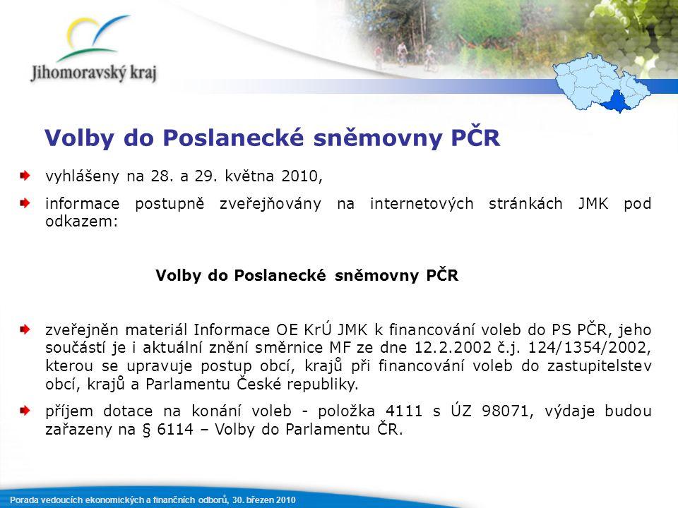 Porada vedoucích ekonomických a finančních odborů, 30. březen 2010 Volby do Poslanecké sněmovny PČR vyhlášeny na 28. a 29. května 2010, informace post