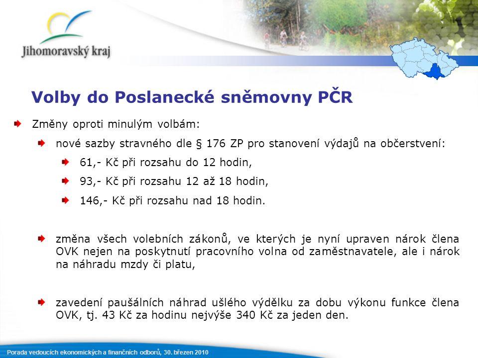 Porada vedoucích ekonomických a finančních odborů, 30. březen 2010 Volby do Poslanecké sněmovny PČR Změny oproti minulým volbám: nové sazby stravného