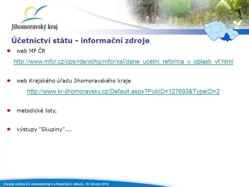 Porada vedoucích ekonomických a finančních odborů, 30. březen 2010 Účetnictví státu - informační zdroje web MF ČR http://www.mfcr.cz/cps/rde/xchg/mfcr
