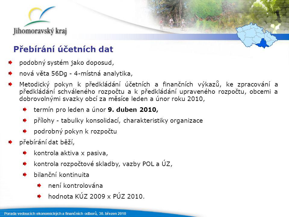 Porada vedoucích ekonomických a finančních odborů, 30. březen 2010 Přebírání účetních dat podobný systém jako doposud, nová věta 56Dg - 4-místná analy