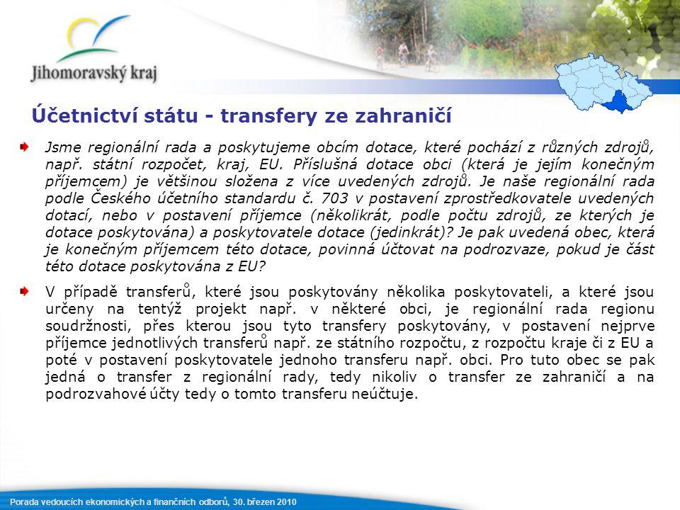 Porada vedoucích ekonomických a finančních odborů, 30. březen 2010 Účetnictví státu - transfery ze zahraničí Jsme regionální rada a poskytujeme obcím