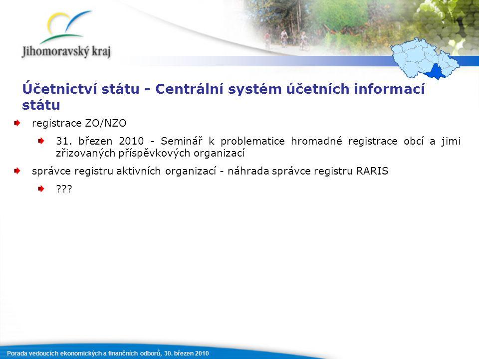 Porada vedoucích ekonomických a finančních odborů, 30. březen 2010 Účetnictví státu - Centrální systém účetních informací státu registrace ZO/NZO 31.