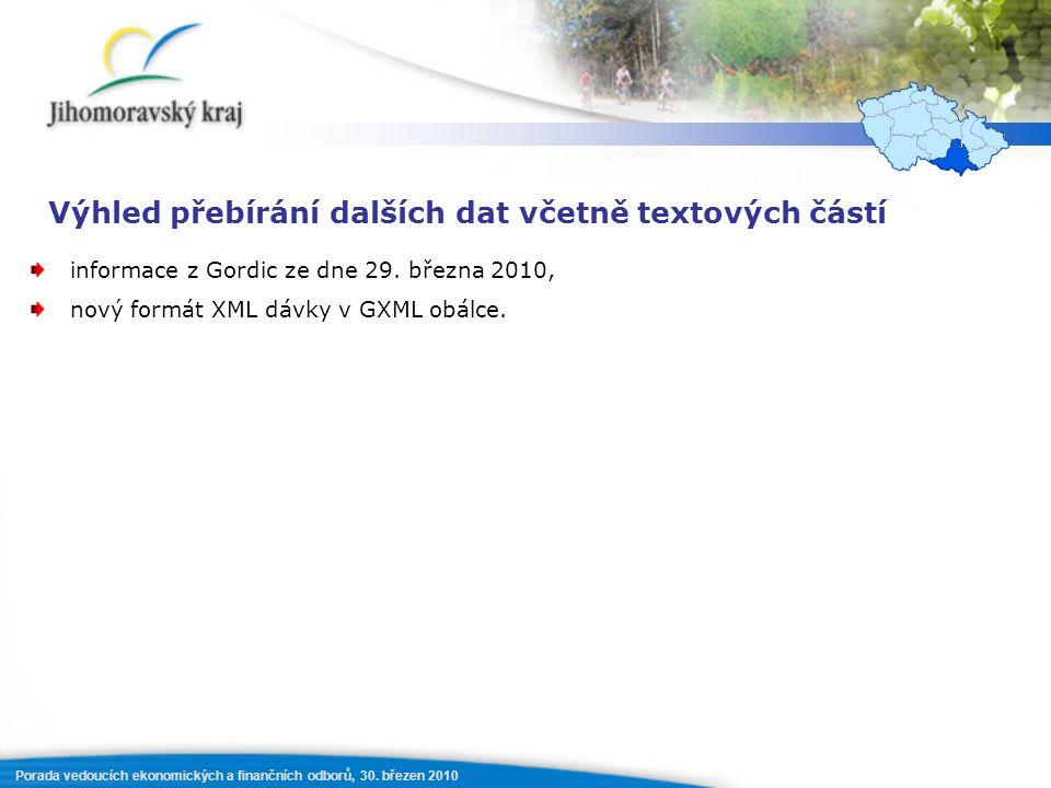 Porada vedoucích ekonomických a finančních odborů, 30. březen 2010 Výhled přebírání dalších dat včetně textových částí informace z Gordic ze dne 29. b