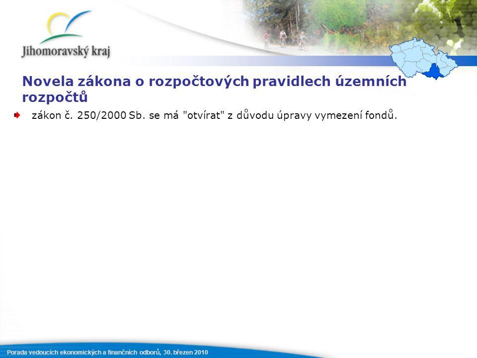 Porada vedoucích ekonomických a finančních odborů, 30. březen 2010 Novela zákona o rozpočtových pravidlech územních rozpočtů zákon č. 250/2000 Sb. se