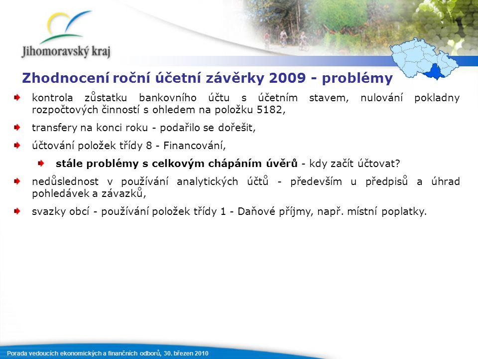 Porada vedoucích ekonomických a finančních odborů, 30. březen 2010 Zhodnocení roční účetní závěrky 2009 - problémy kontrola zůstatku bankovního účtu s