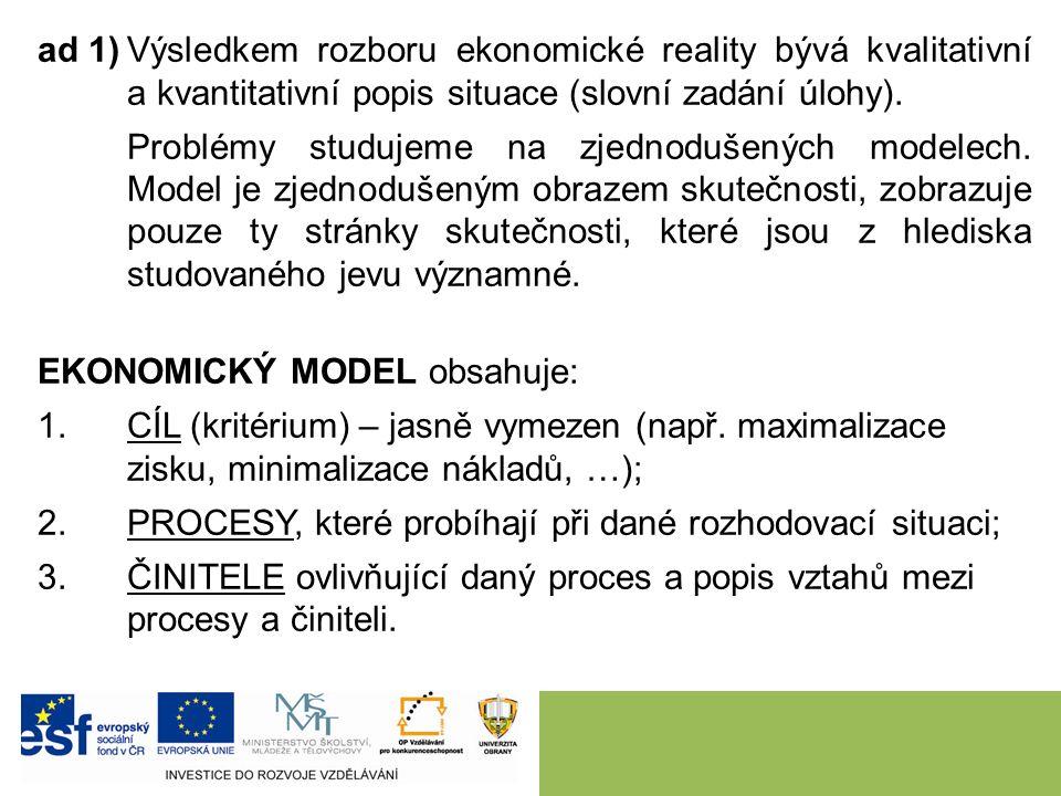 ad 1)Výsledkem rozboru ekonomické reality bývá kvalitativní a kvantitativní popis situace (slovní zadání úlohy).