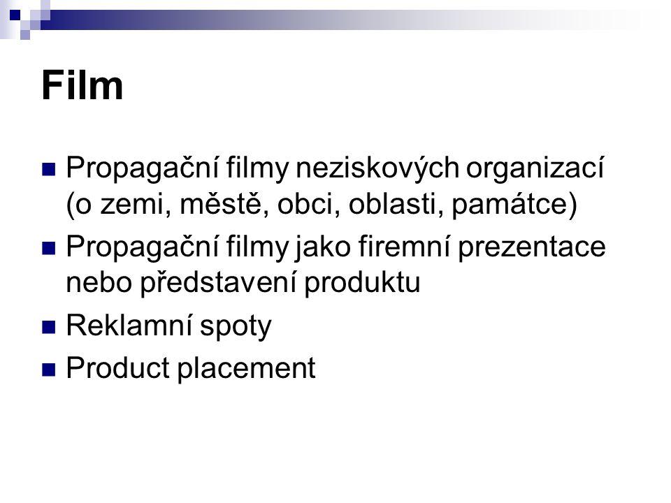 Film Propagační filmy neziskových organizací (o zemi, městě, obci, oblasti, památce) Propagační filmy jako firemní prezentace nebo představení produktu Reklamní spoty Product placement