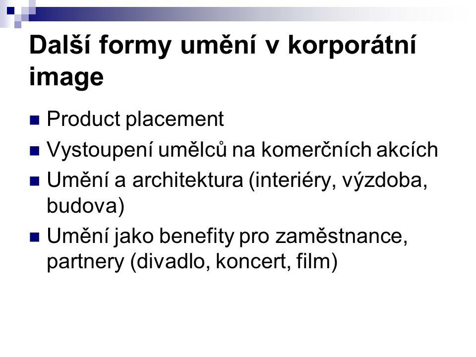 Další formy umění v korporátní image Product placement Vystoupení umělců na komerčních akcích Umění a architektura (interiéry, výzdoba, budova) Umění jako benefity pro zaměstnance, partnery (divadlo, koncert, film)