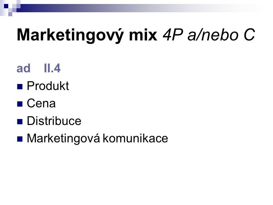 Marketingový mix 4P a/nebo C ad II.4 Produkt Cena Distribuce Marketingová komunikace