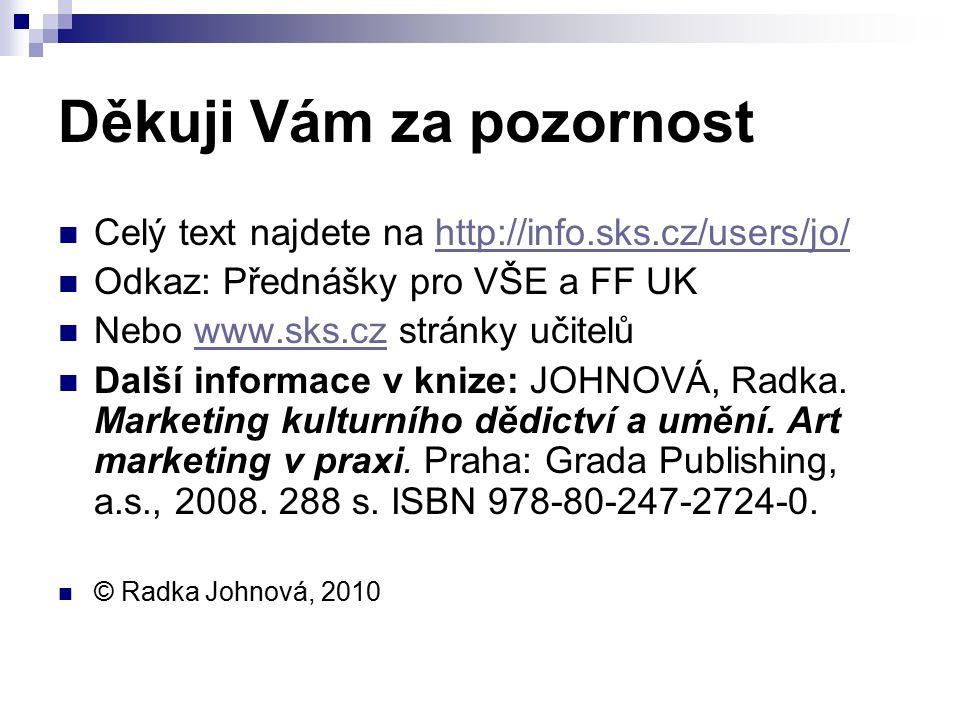 Děkuji Vám za pozornost Celý text najdete na http://info.sks.cz/users/jo/http://info.sks.cz/users/jo/ Odkaz: Přednášky pro VŠE a FF UK Nebo www.sks.cz stránky učitelůwww.sks.cz Další informace v knize: JOHNOVÁ, Radka.