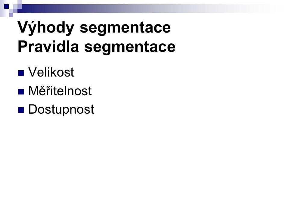 Výhody segmentace Pravidla segmentace Velikost Měřitelnost Dostupnost