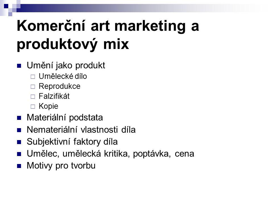 Komerční art marketing a produktový mix Umění jako produkt  Umělecké dílo  Reprodukce  Falzifikát  Kopie Materiální podstata Nemateriální vlastnosti díla Subjektivní faktory díla Umělec, umělecká kritika, poptávka, cena Motivy pro tvorbu