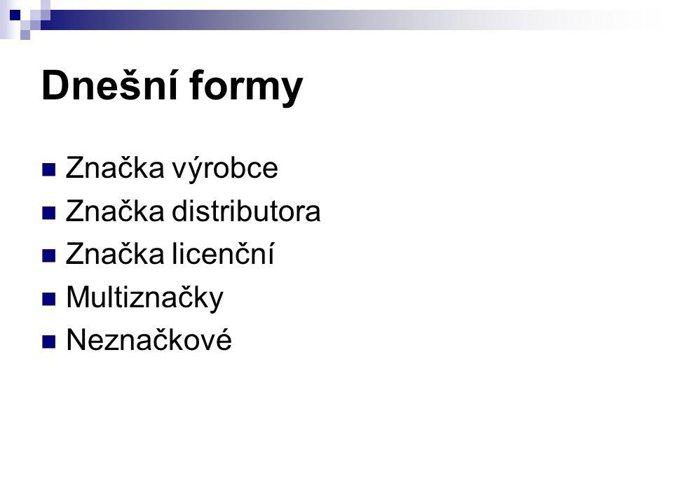 Dnešní formy Značka výrobce Značka distributora Značka licenční Multiznačky Neznačkové