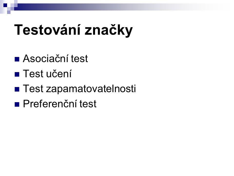Testování značky Asociační test Test učení Test zapamatovatelnosti Preferenční test