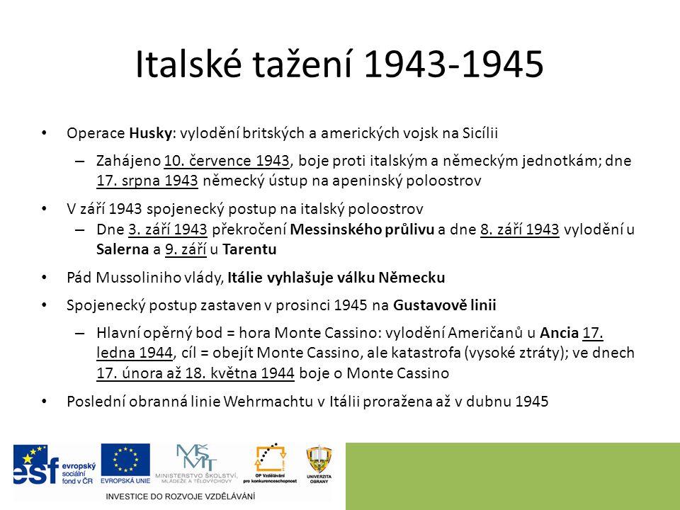 Italské tažení 1943-1945 Operace Husky: vylodění britských a amerických vojsk na Sicílii – Zahájeno 10.