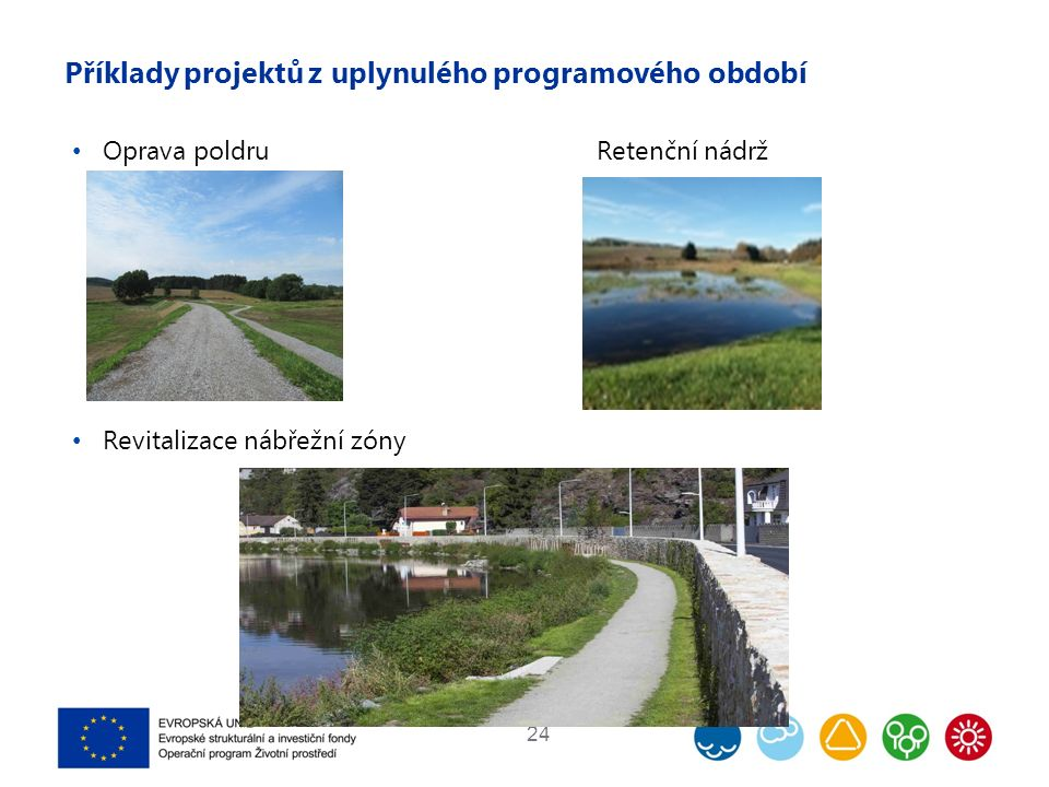 Příklady projektů z uplynulého programového období Oprava poldruRetenční nádrž Revitalizace nábřežní zóny 24
