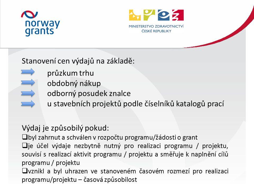 Stanovení cen výdajů na základě: průzkum trhu obdobný nákup odborný posudek znalce u stavebních projektů podle číselníků katalogů prací Výdaj je způsobilý pokud:  byl zahrnut a schválen v rozpočtu programu/žádosti o grant  je účel výdaje nezbytně nutný pro realizaci programu / projektu, souvisí s realizací aktivit programu / projektu a směřuje k naplnění cílů programu / projektu  vznikl a byl uhrazen ve stanoveném časovém rozmezí pro realizaci programu/projektu – časová způsobilost