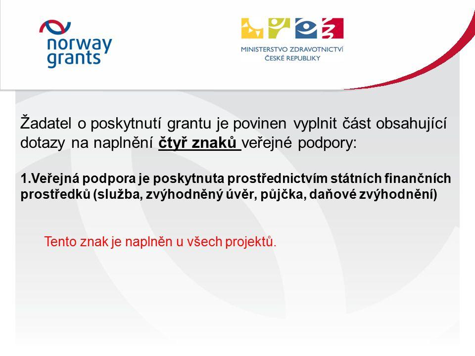 Žadatel o poskytnutí grantu je povinen vyplnit část obsahující dotazy na naplnění čtyř znaků veřejné podpory: 1.Veřejná podpora je poskytnuta prostřednictvím státních finančních prostředků (služba, zvýhodněný úvěr, půjčka, daňové zvýhodnění) Tento znak je naplněn u všech projektů.