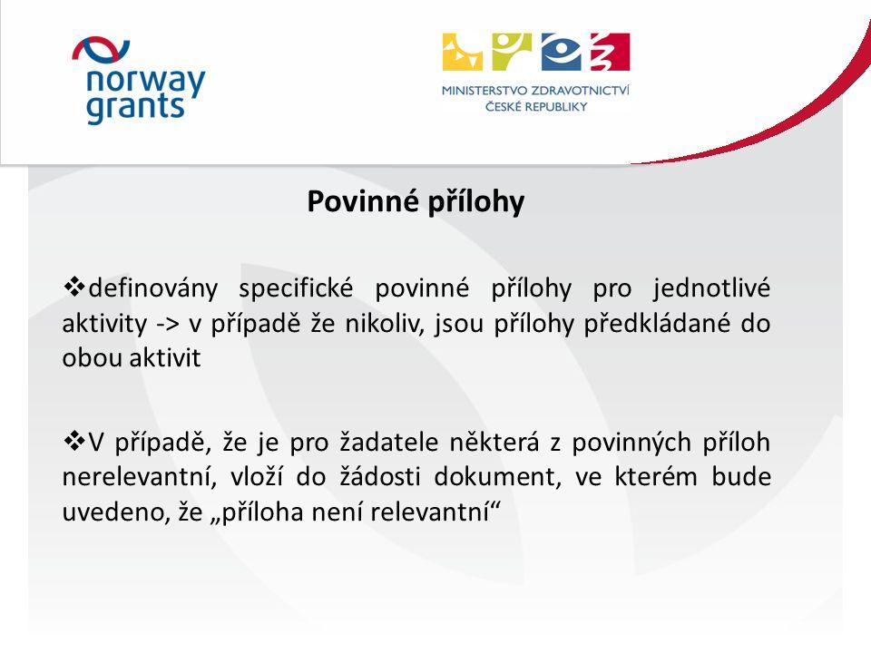 """Povinné přílohy  definovány specifické povinné přílohy pro jednotlivé aktivity -> v případě že nikoliv, jsou přílohy předkládané do obou aktivit  V případě, že je pro žadatele některá z povinných příloh nerelevantní, vloží do žádosti dokument, ve kterém bude uvedeno, že """"příloha není relevantní"""