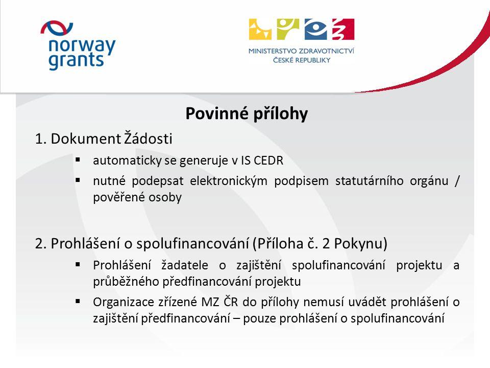 Povinné přílohy 1.
