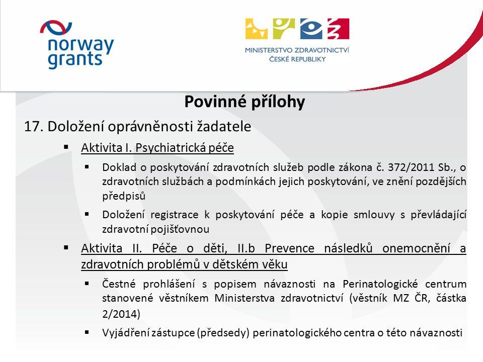 Povinné přílohy 17. Doložení oprávněnosti žadatele  Aktivita I.