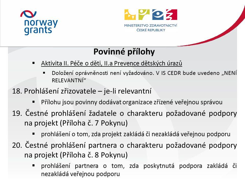 Povinné přílohy  Aktivita II.