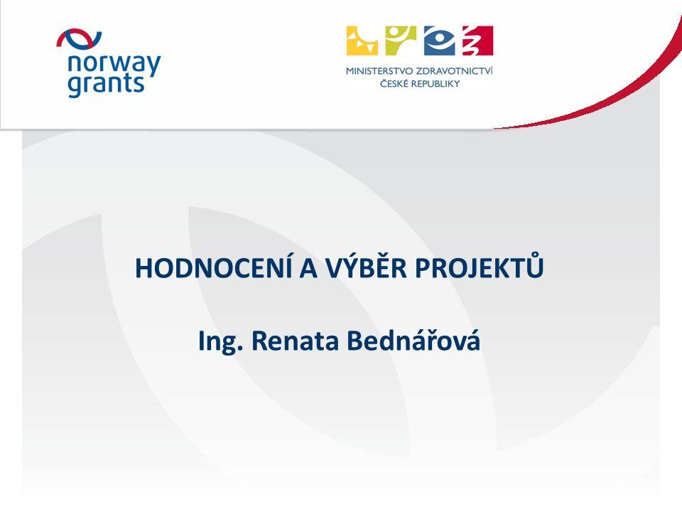 HODNOCENÍ A VÝBĚR PROJEKTŮ Ing. Renata Bednářová