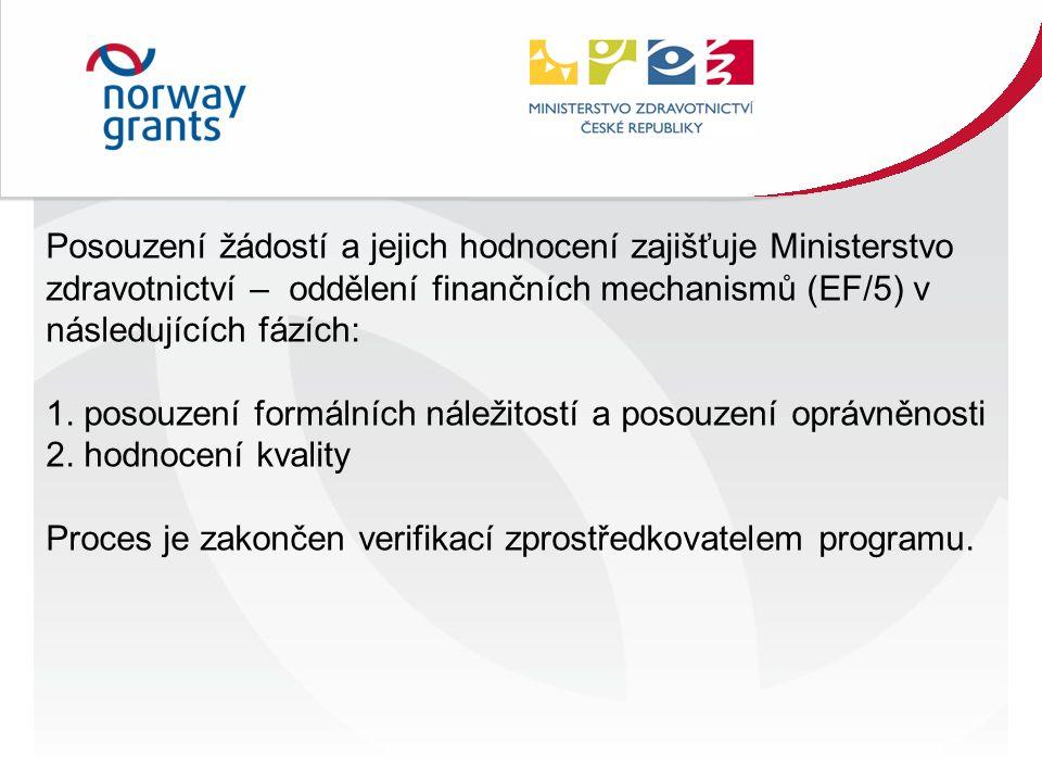 Posouzení žádostí a jejich hodnocení zajišťuje Ministerstvo zdravotnictví – oddělení finančních mechanismů (EF/5) v následujících fázích: 1.