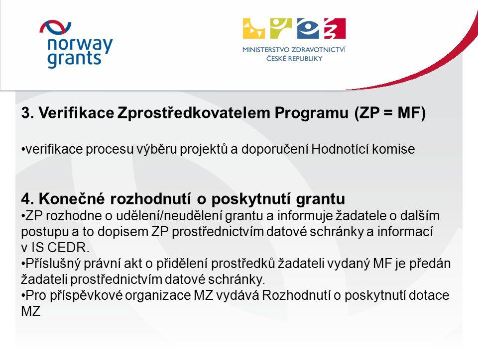3. Verifikace Zprostředkovatelem Programu (ZP = MF) verifikace procesu výběru projektů a doporučení Hodnotící komise 4. Konečné rozhodnutí o poskytnut